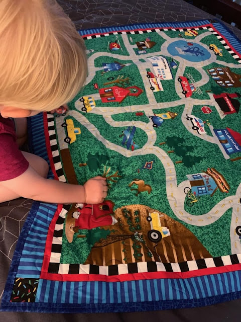 Quilted road map play mat