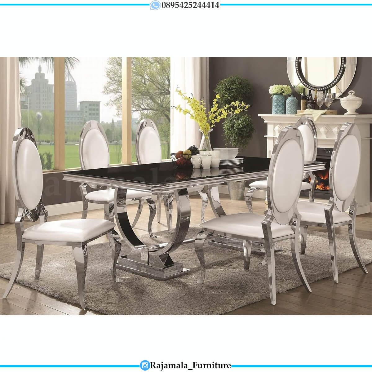 Meja Makan Modern Minimalis Stainless Steel Luxury Elegant Style RM-0720