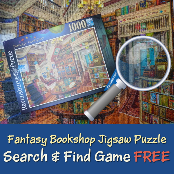 Fantasy Bookshop Jigsaw Puzzle Ravensburger Artwork by Aimee Stewart: FREE Search and Find Game by PuzzleHour.com