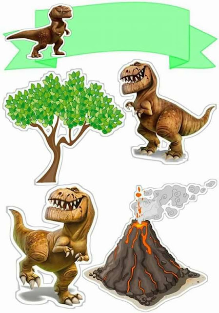 Dinosaurs Free Printable Cake Toppers.