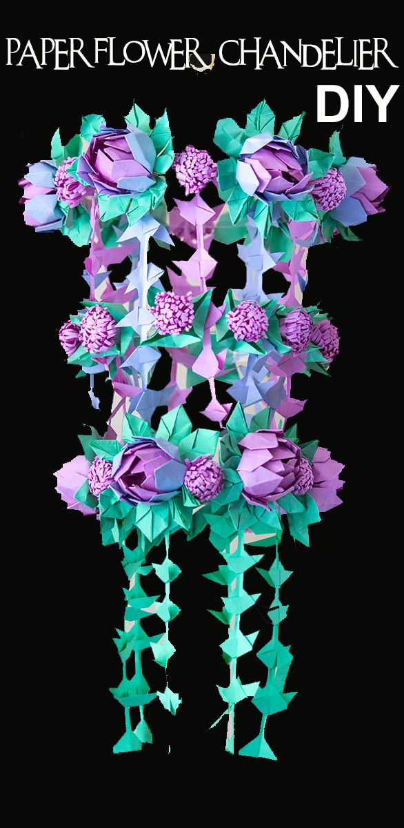 The Chandelier Is Created Using 3 Paper Features One An Origami Lotus Also Featured In My Flowers Super Pack Kit Now Available On Amazon
