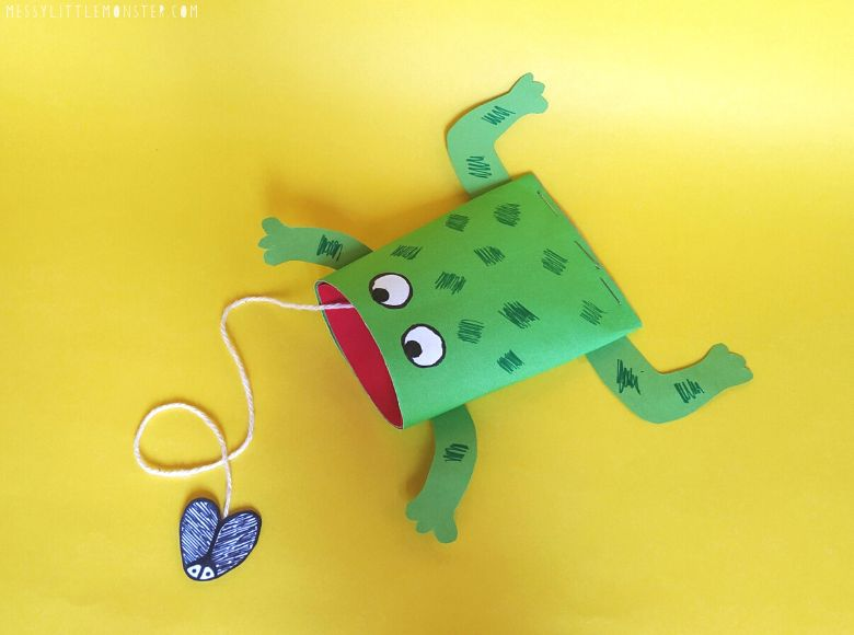 toilet paper roll frog craft - summer camp craft for kids