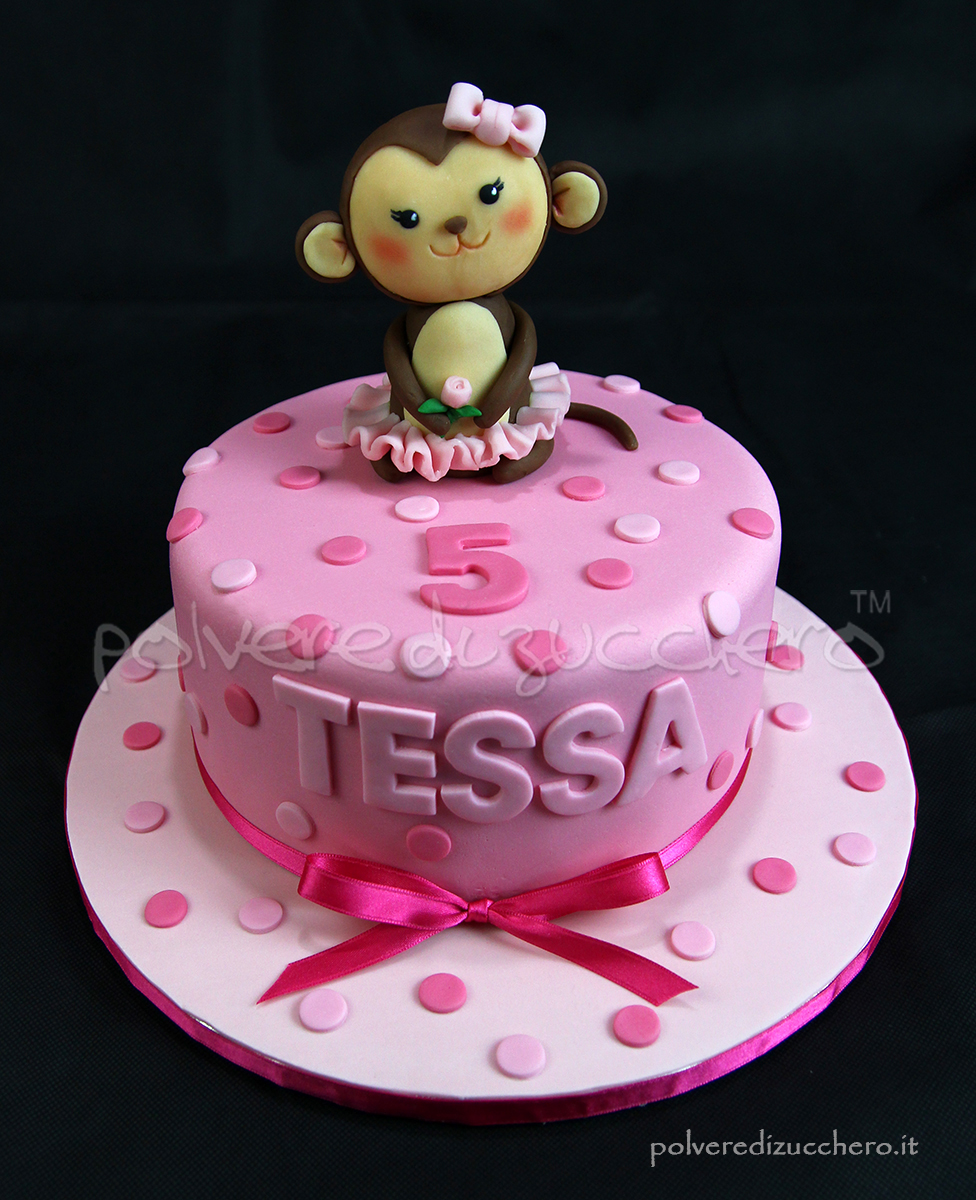 Super Torta di compleanno in pasta di zucchero rosa per una bimba con  NV21