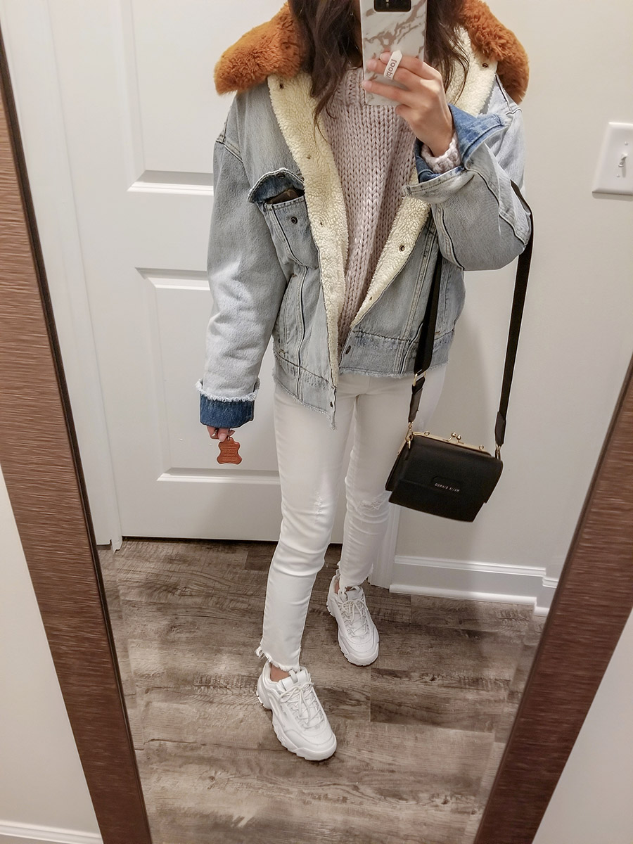 levis killing me softly denim jacket, levis oversized sherpa trucker jacket, fila disruptor 2 outfit