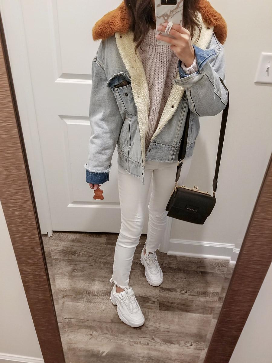 levis killing me softly denim jacket, levis oversized sherpa trucker jacket, fila disruptor 2 outfit
