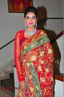 Model Sharon Fernandes Stills in Red Saree at Trendz Exhibition Launch  0048.JPG