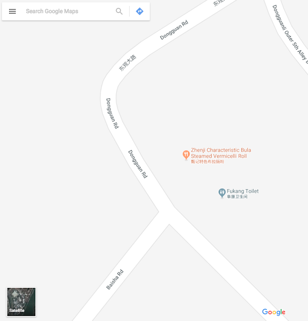 Google Maps for the intersection of Baisha Road and Dongguan Road in Jiangmen