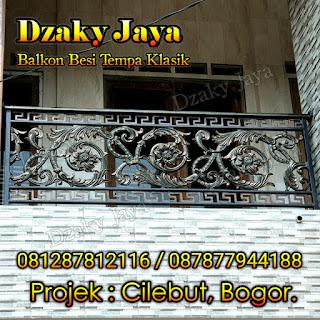 Contoh balkon besi tempa klasik proyek rumah mewah klasik di Cilebut, Bogor.