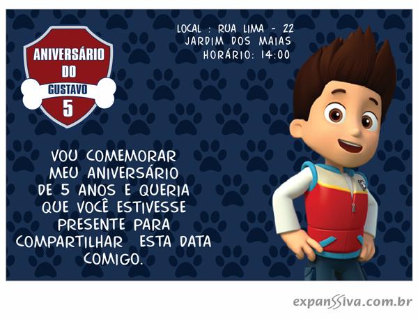 Patrulha Canina Convite para Menino