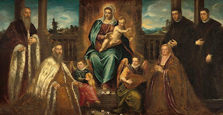Tintoretto's painting Doge Alvise Mocenigo and Family before the Madonna and Child sees Loredana seated on the right