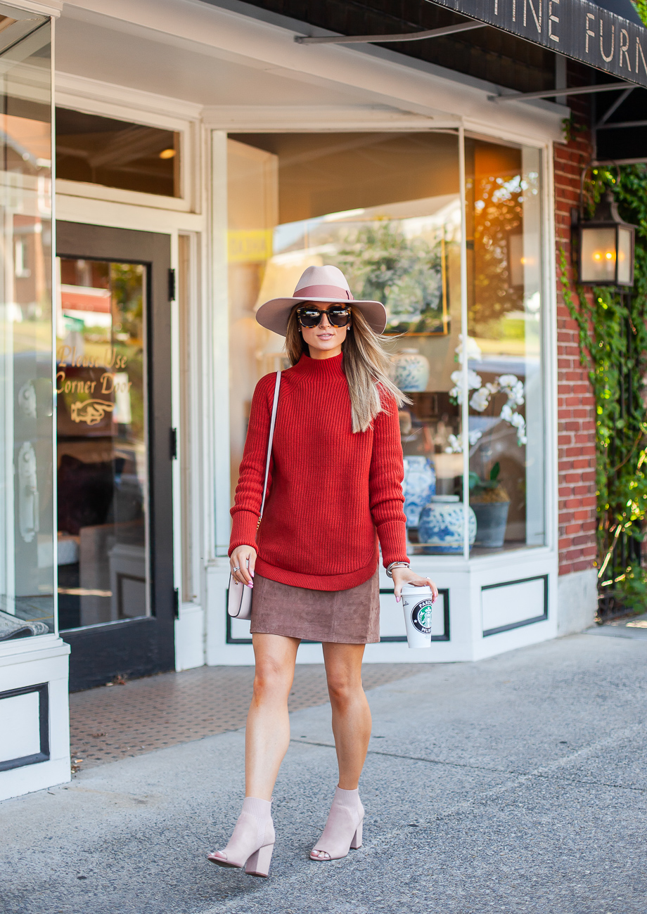 nordstrom treasure and bond red ochre mock neck sweater