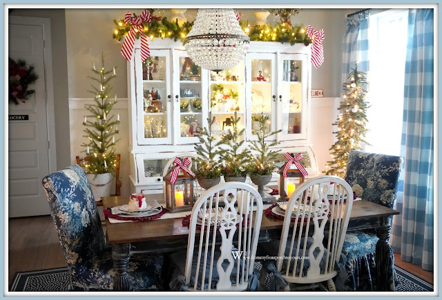 Cottage- Farmhouse- Christmas- Dining- Room -French-Country-Dining-Chairs-Blue & White-Decor--From My Front Porch To Yours