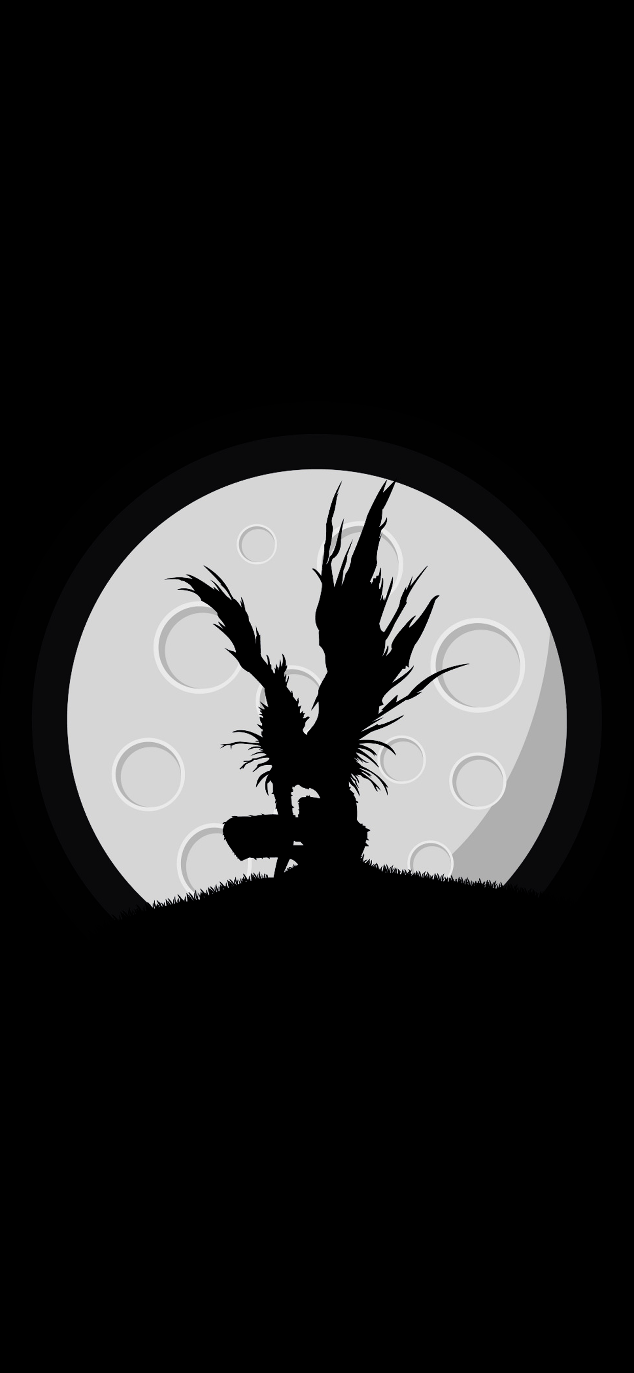ryuk silhuete in a moon amoled wallpaper anime death note for mobile phone