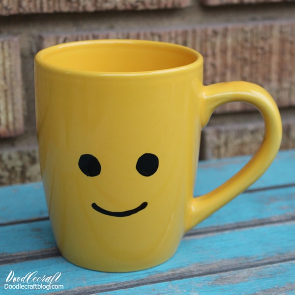 How to make a lego minifigure face on a ceramic mug.