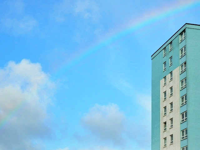 Block of flats and rainbow, St.Austell, Cornwall
