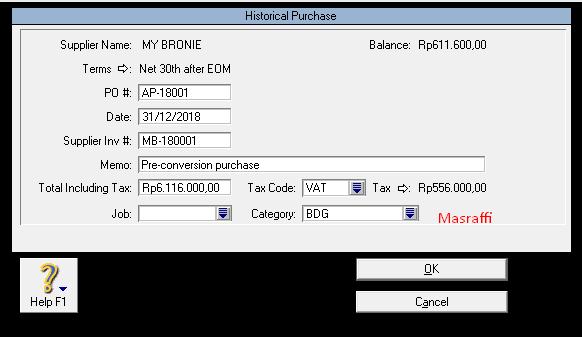 Langkah-langkah Membuat Kartu Utang Supplier di MYOB