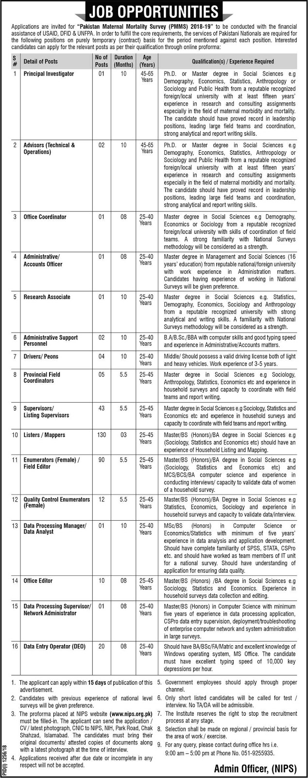 Latest Vacancies Announced in Pakistan Maternal Mortality Survey PMMS 15 September 2018