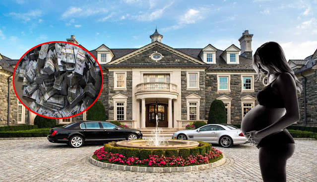 A luxurious mansion with one black car and white car in front. It also has a pregnant woman and bundles of money.