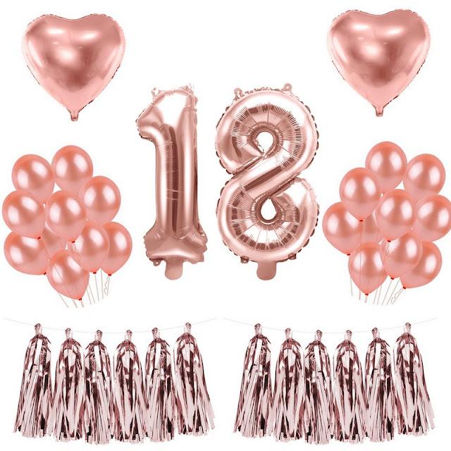 Zestaw balonów na 18 urodziny rose gold
