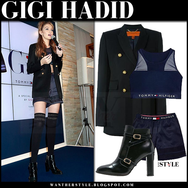 Gigi Hadid in navy blazer, crop top and navy satin shorts tommy hilfiger what she wore