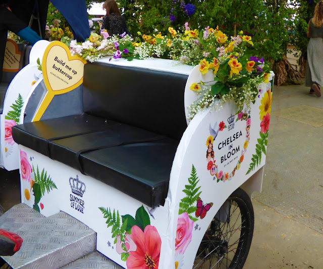 Floral rickshaw in Sloane Square, London, for Chelsea in Bloom 2018 free flower festival