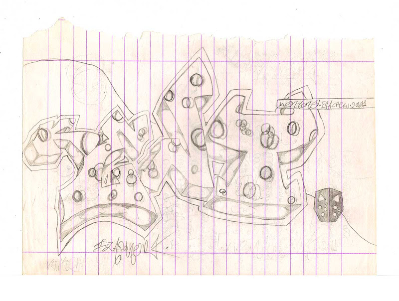 Kent Style with Pencil and Circles and Jason Mask at Bottom Right. Original naive, vintage graffiti sketch on copy paper by Kostas Gogas (akney), signed as Kent from his first Folder, 2001. ENA graffiti crew.