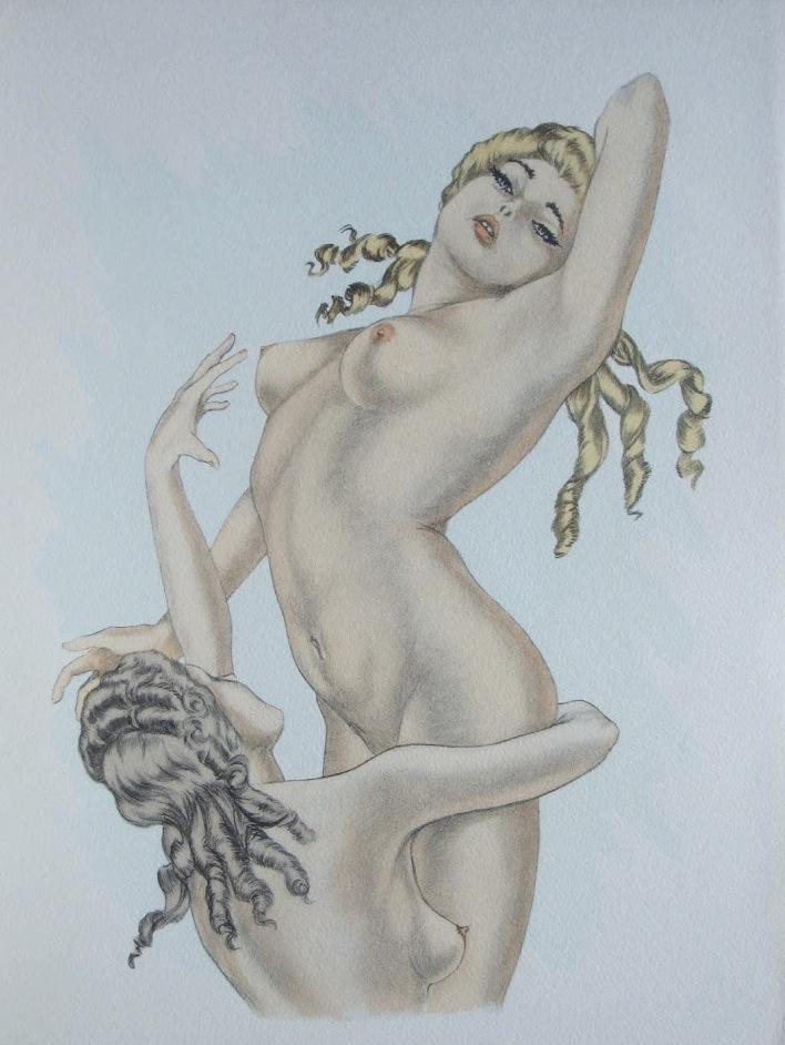 Paul becat erotic art print boudoir bed nude girl sex