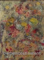 Explosion florale, huile sur papier 8 x 6, thème abstrait par Clémence St-Laurent