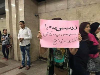 Protester in the metro