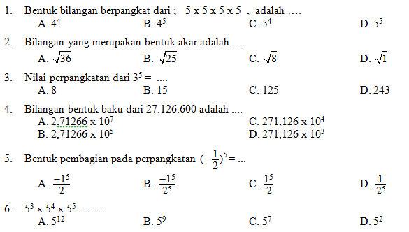 Kisi Kisi Soal  dan  Kunci Jawaban  Matematika  SMP Kelas  9
