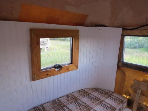 interior wall of a fiberglass trailer