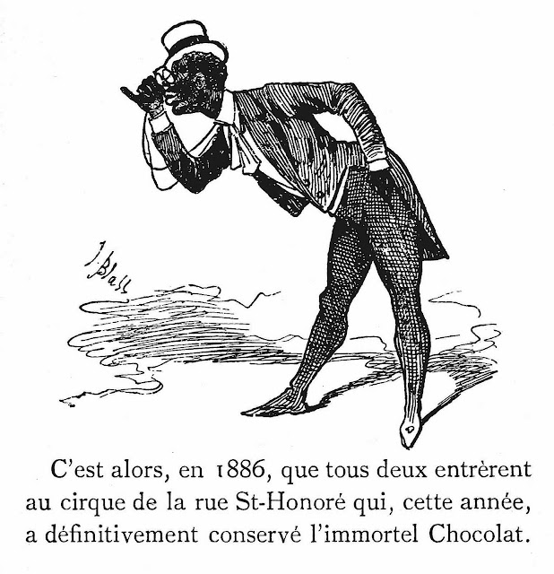 An illustration of an 1886 French comedian l'immortel Chocolat