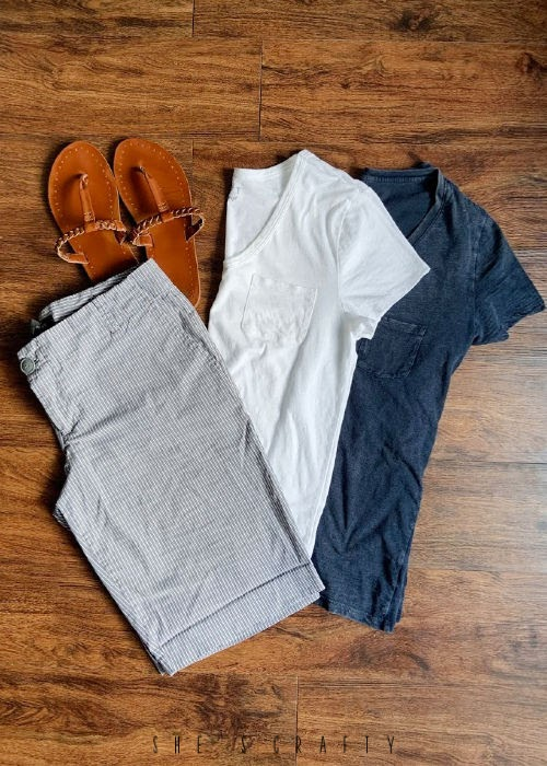 6 Easy Summer Outfit Ideas for moms that are Cool and Comfortable - chino shorts and v neck T shirts