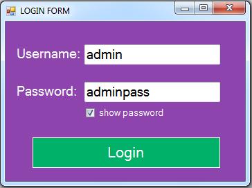 vb.net inventory system - login form show pass