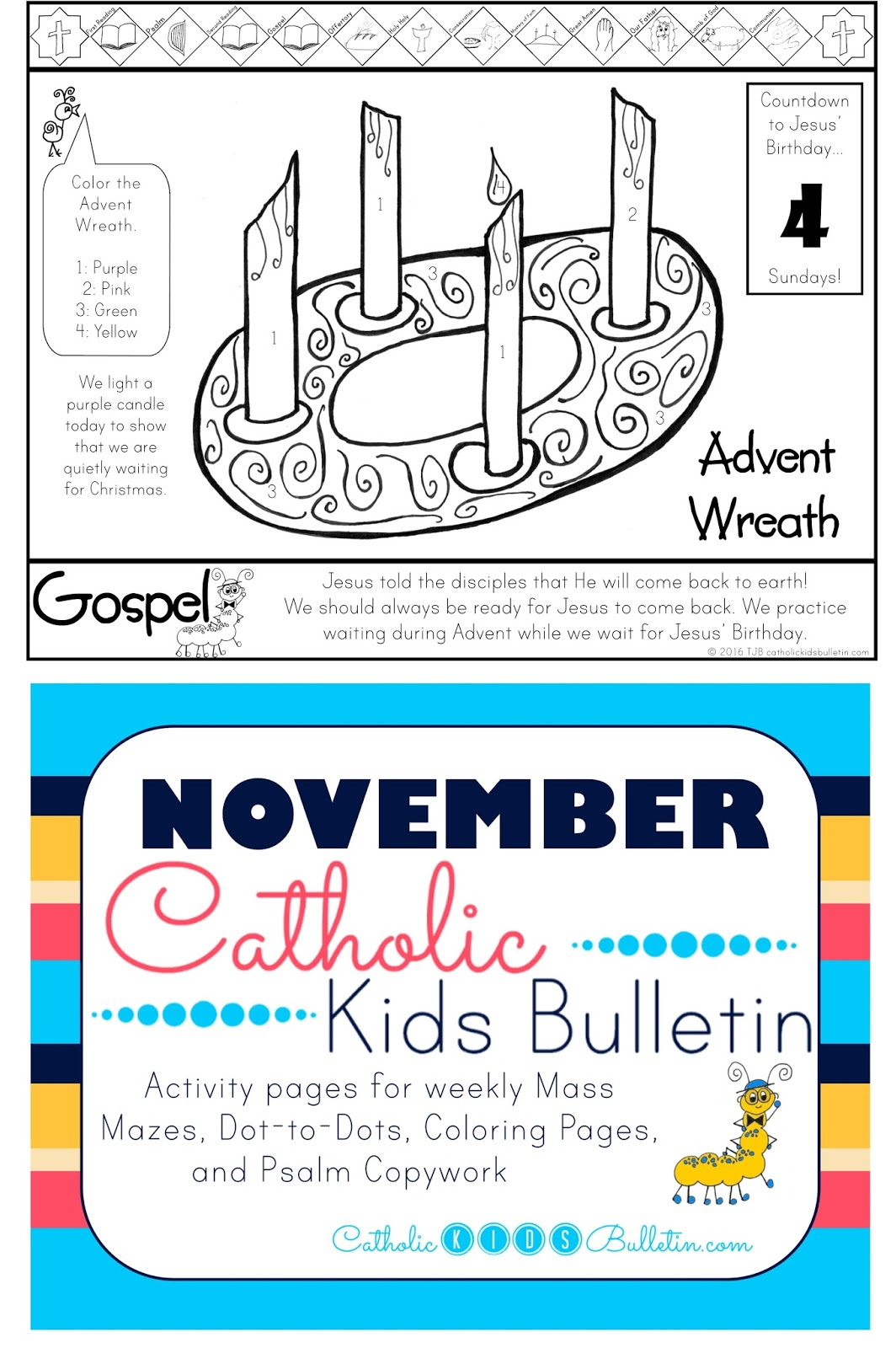 Catholic Kids Bulletin: Weekly Mass Prep for Kids! Matthew 24:37-44