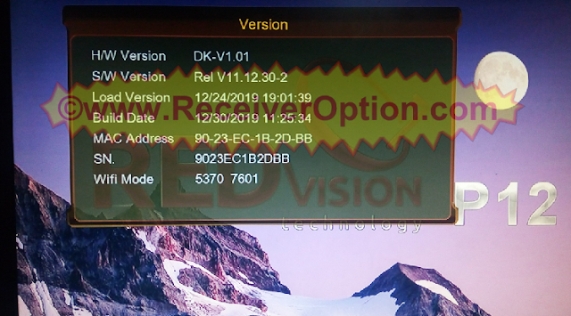 REDVISION P12 HD RECEIVER NEW SOFTWARE UPDATE 30 DECEMBER 2019