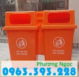 Thùng rác công nghiệp 90 Lít nắp hở, thùng rác nhựa HDPE 90L, thùng rác 90 nắp hở