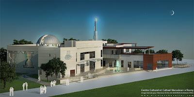 Perspective 3d mosquée centre culturel musulman nuit