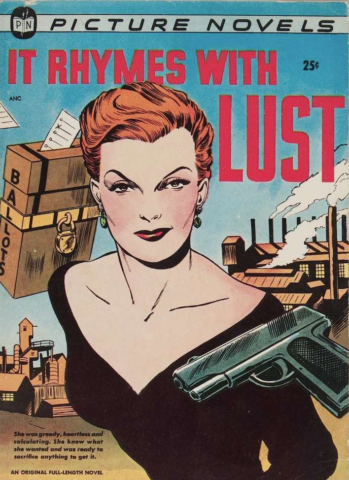 Cover to 'It Rhymes with Lust' with title in red above a smiling woman (Rust Masson) in a body-hugging black dress with plunging neckline