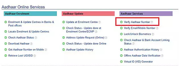 Aadhaar Card Verification online