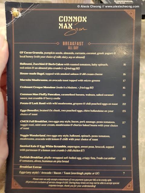 Common Man Stan breakfast menu