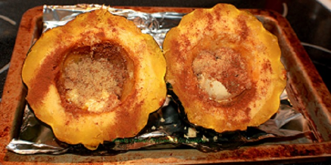 this is cinnamon sugar and butter inside raw acorn squash