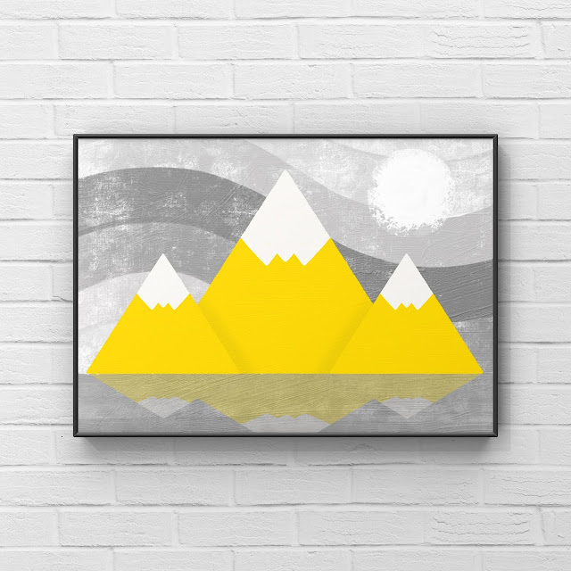 Abstract Mountains, mountain art, snow, yellow, gray, painting,