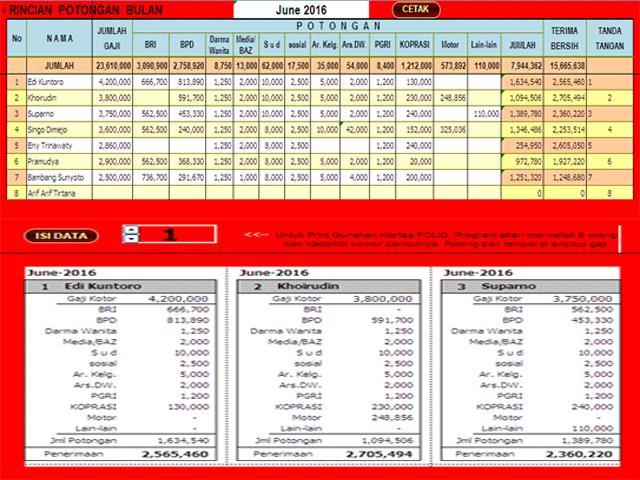 Aplikasi Struk Gaji Guru SD SMP SMA Cetak Ms Excel Otomatis