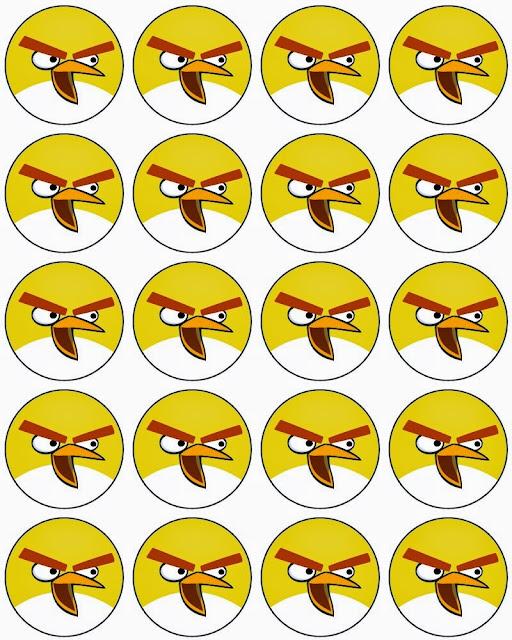 Angry Birds: Toppers, Stickers o Etiquetas Circulares para Imprimir Gratis.
