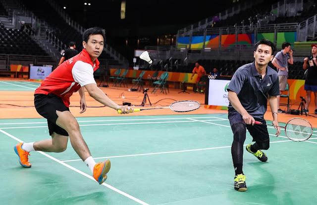 Ahsan/Hendra Saat Latihan di Rio Menjelang Olimpiade