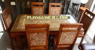 Meja makan modern antik jepara