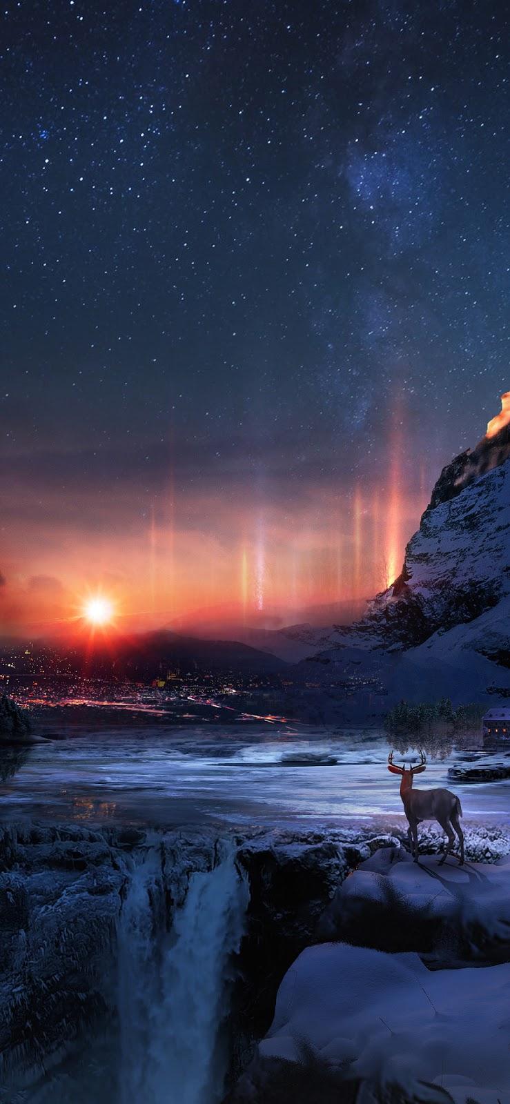 Hình nền mặt trời giữa đêm sao siêu đẹp cho iPhone X