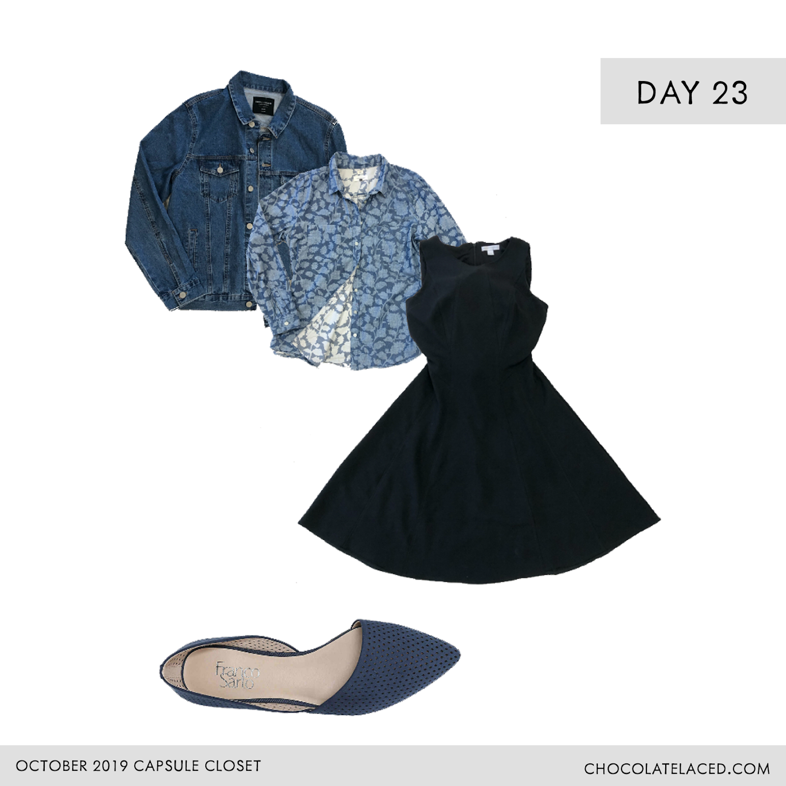 Denim jacket, chambray top, floral top, little black dress, d'Orsay flats