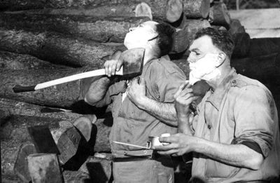 AIF Forestry Unit sappers axe shaving in WW2 b&w photo